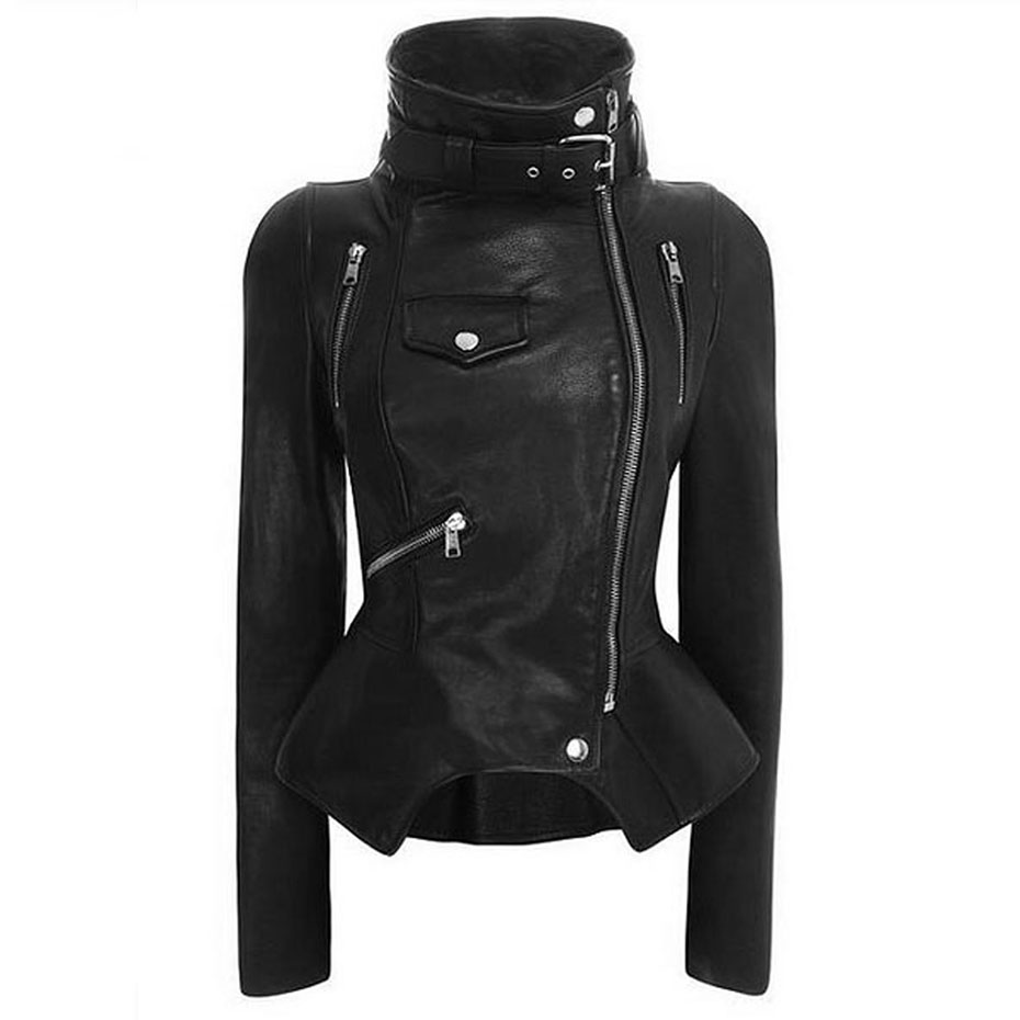 Female 2018 Autumn PU Leather Jacket Faux Leather Slim Women Coat Zipper Pocket Punk Motorcycle Black Jackets Short Outwear