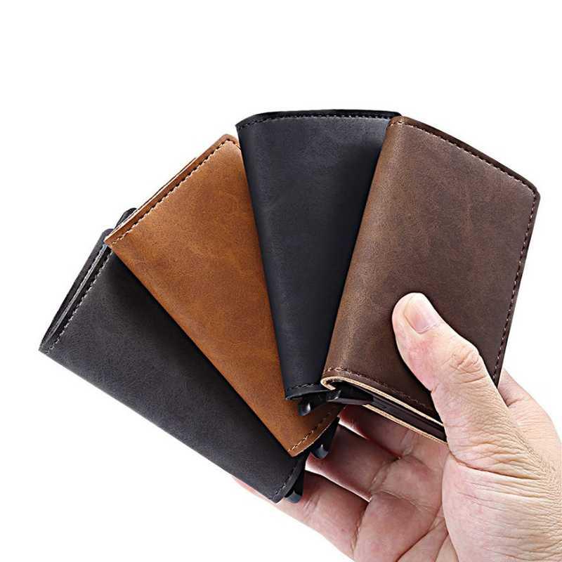 Ankunft Neue Männer Blockieren Rfid Brieftasche Mini Leder Business Aluminium Kreditkarte Halter Geldbörse Automatisch Rutsche Karte Fall