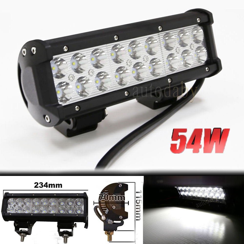 1pc 12V 24V Flood Spot Beam 9inch 54W LED Light Bar Offroad Light Work Lamp For ATV SUV 4WD 4X4 popular led light bar spot flood combo beam offroad light 12v 24v work lamp for atv suv 4wd 4x4 boating hunting