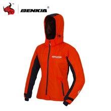 BENKIA Orange Women's Motorcycle Racing Suit Spring Summer Coat Motorcycle Riding Wind-coat With Removalble Hood