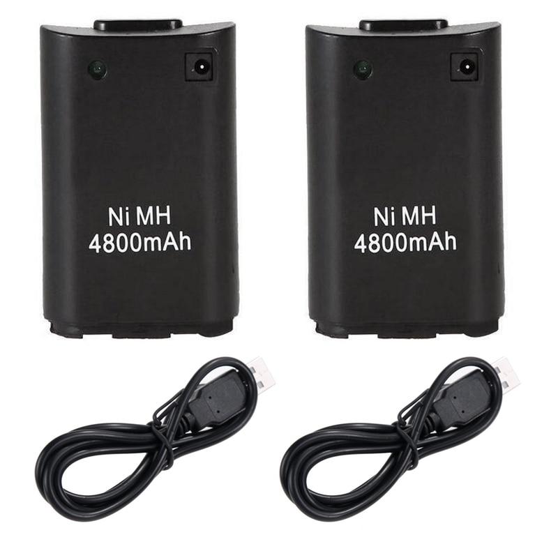 2 pièces 4800mAh Batteries De Rechange pour Microsoft Xbox 360 Xbox360 Contrôleur de Jeu Sans Fil Manette Ni MH Batterie De Secours