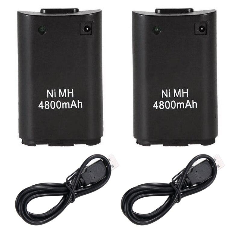 2 piezas 4800 mAh baterías de repuesto para Microsoft Xbox 360 Xbox360 Wireless Gamepad del regulador del juego Ni MH batería de reserva