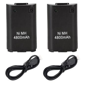 2 sztuk 4800mAh akumulatorki zamienne dla microsoft xbox 360 Xbox360 bezprzewodowy kontroler do gier Gamepad Ni MH bateria zapasowa opakowanie tanie i dobre opinie GOLDFOX D4746 2 batteries+2 usb cable black white please tell us the color when purchase