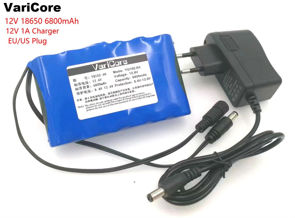 VariCore Portable Super 18650 Rechargeable Lithium Ion battery pack capacity DC 12 V 6800 Mah CCTV Cam Monitor 12.6V 1A Charger free shipping rechargeable li ion battery pack 36v 13ah lithium ion bottle dolphin ebike battery 18650 battery pack