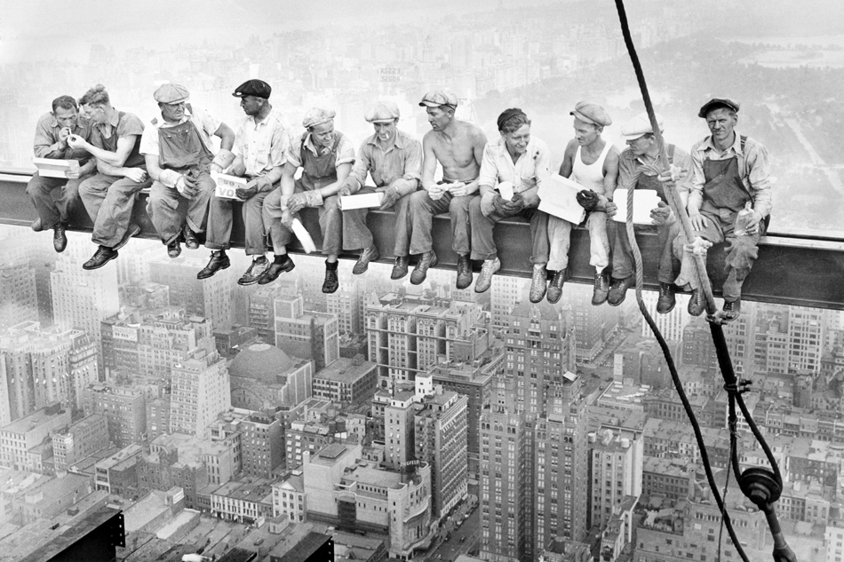 D091 Construction Workers New York City Retro Poster