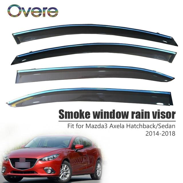 OVERE NEW 1Set Smoke Window Rain Visor For Mazda 3 Axela Hatchback/Sedan 2014 2015 2016 2017 2018 디플렉터 가드 액세서리