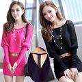 2016 New Bat Sleeve Sweater Skirt Long Sections Hollow Dress Sweaters Sexy Package Hip Bottoming Pullover Women Sweater G1334
