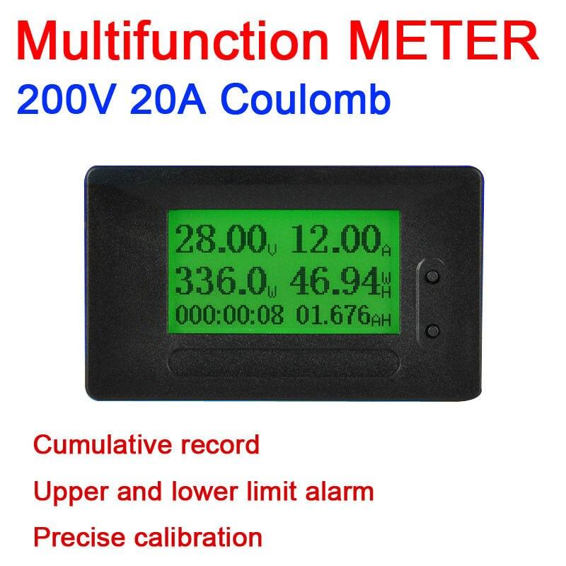 16in1 Dc 6-200 V 20a Lcd Coulomb Meter Volt/ammete/potenza/energia/temperatura/ Watt Tempo Ampia Fornitura E Consegna Rapida