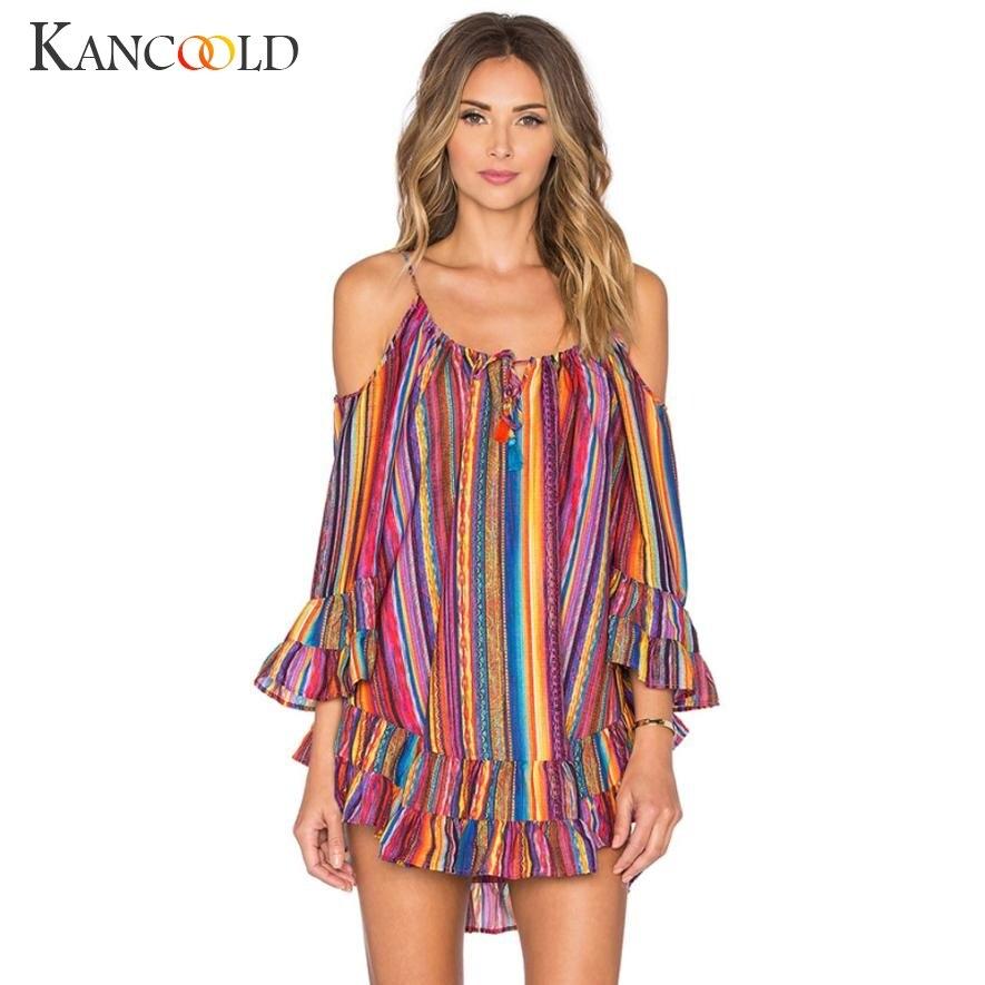 2017 Fashion Style Summer Rainbow Print Dress Womens Fringed Beach Casual Mini Dress Loose Strap Dress Femme Vestidos Ja122