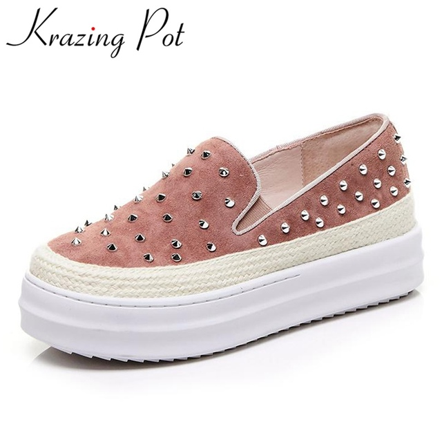 Krazing Pot superstar high heel slip on casual shoes solid round toe loafer rivets sneaker increased women vulcanized shoes L89