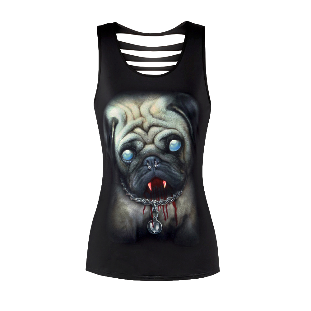 2018 New Summer Tops Hollow out Pug/Skull/Wolf Print Black Sleevesless Top Women Harajuku Sexy Tank Top Workout Tops for Women