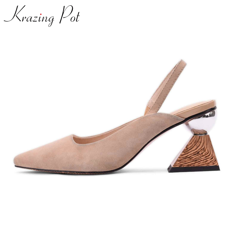 Krazing pot sheep suede strange style high heel preppy style elastic band pointed toe fairy princess