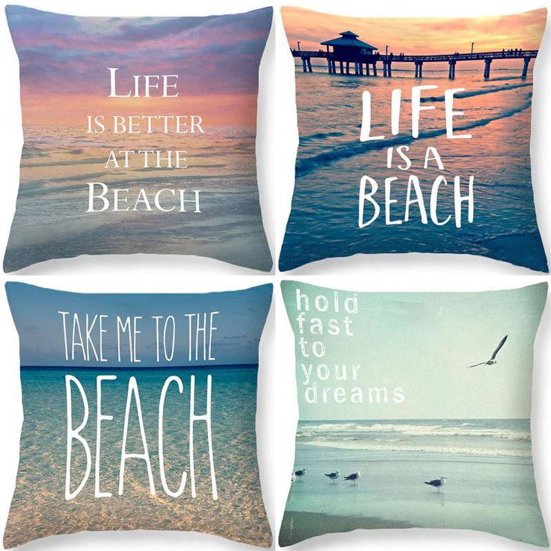 Ocean Beach Cushion Cover Pillowcase Cotton Linen Chair Seat Square Quote 45x45cm Pillow Cover Home Living Textile