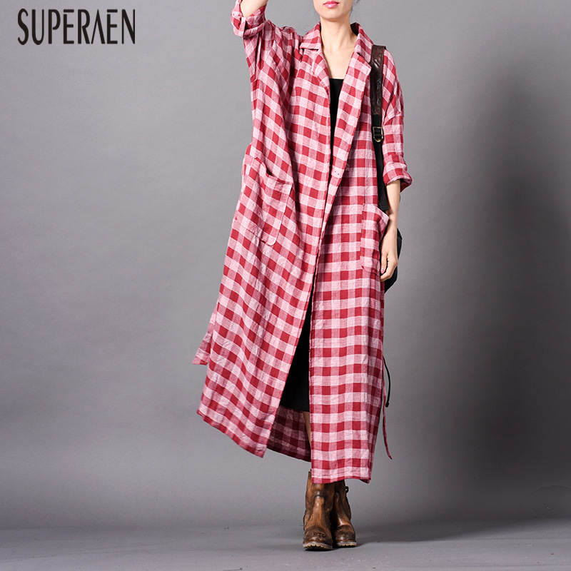 SuperAen Autumn and Spring New 2019   Trench   Coat for Women Cotton Wild Casual Plaid Ladies Windbreaker Fashion Women Clothing