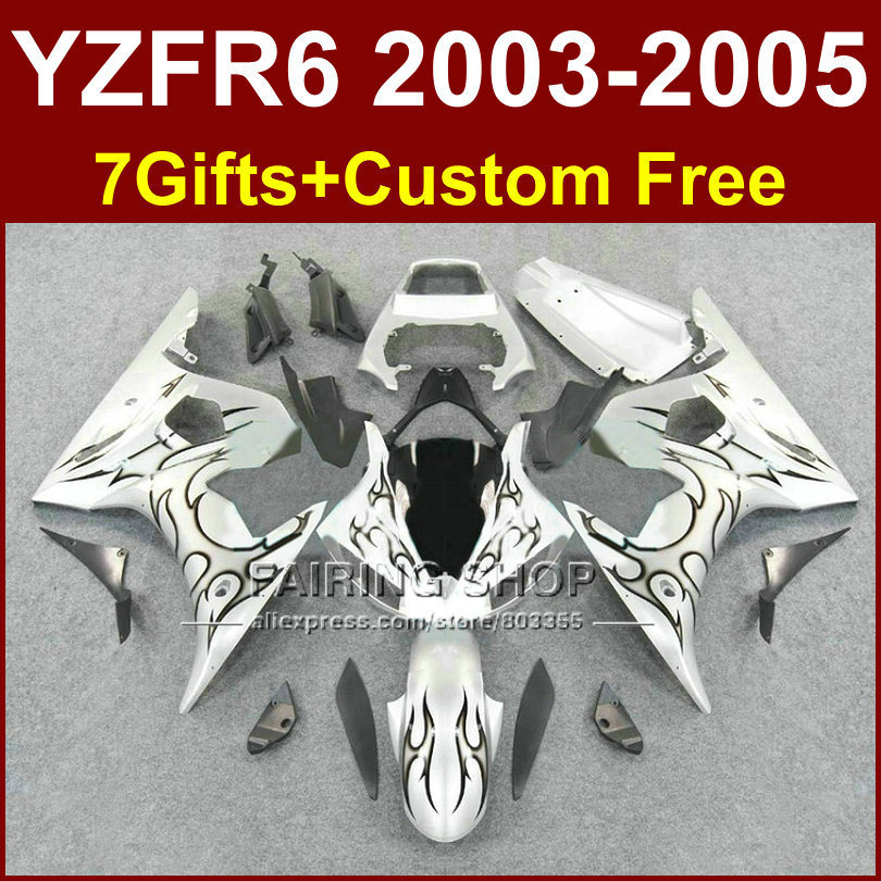 R6 custom fairing parts for YAMAHA r6 Motorcycle fairings sets 03 04 05 YZF R6 2003 2004 2005 black flame fairing kits LOTE mfs motor motorcycle part front rear brake discs rotor for yamaha yzf r6 2003 2004 2005 yzfr6 03 04 05 gold
