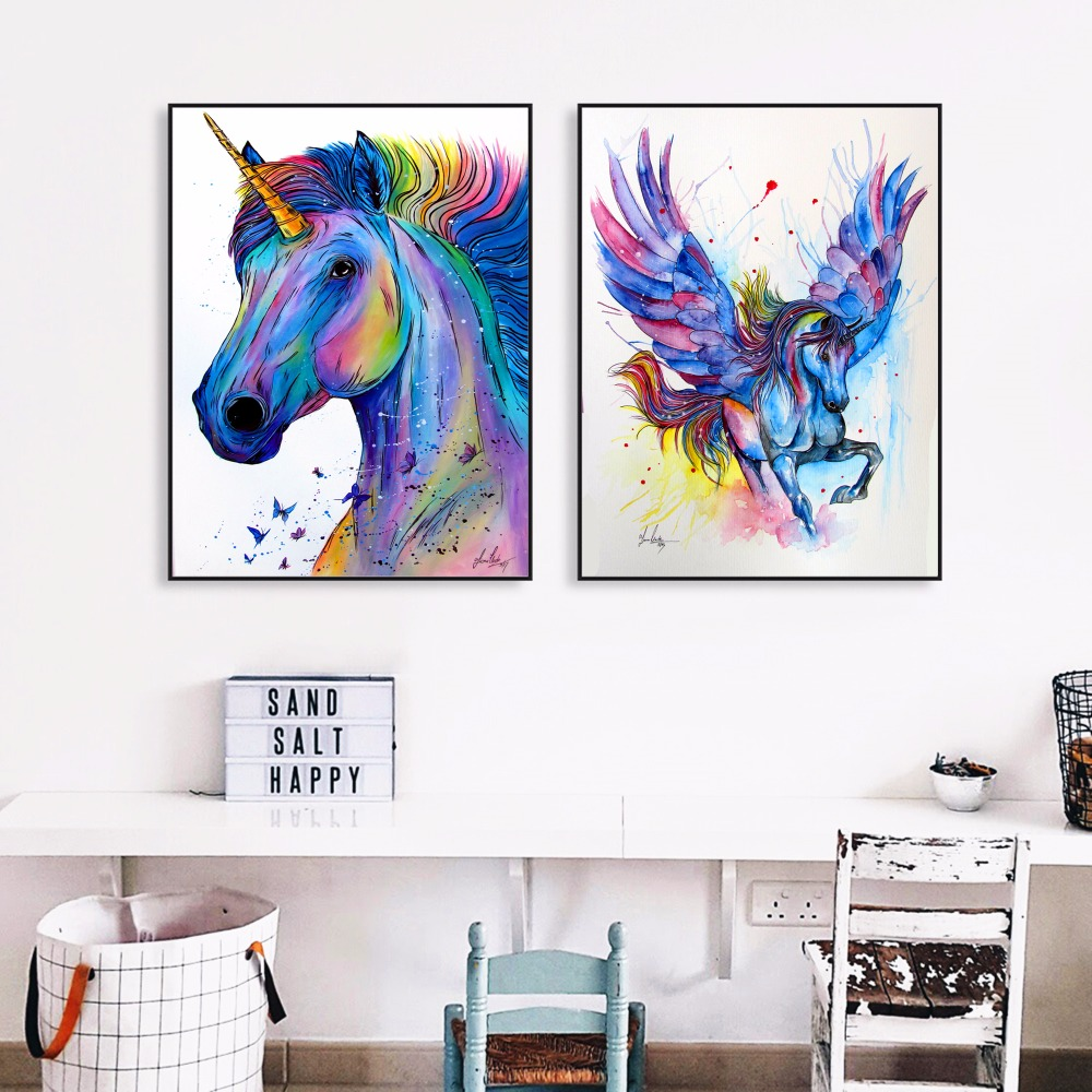 Coloré licorne aquarelle toile Art peinture affiche mur photos pour chambre maison décorative chambre décor pas de cadre