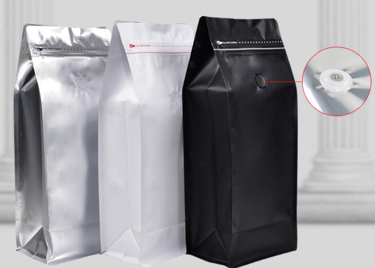 500pcs lot Coffee Bean Bag 1 KG Volume Coffee Bean Pouch With One Way Valve Zip