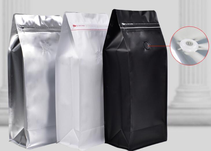 500 قطعة/الوحدة كيس حبوب القهوة 1 كجم حجم القهوة الفول الحقيبة مع صمام أحادي الاتجاه تغليف بقفل سحاب الغذاء تخزين أكياس 3 اللون-في زجاجات وبرطمانات تخزين من المنزل والحديقة على  مجموعة 1