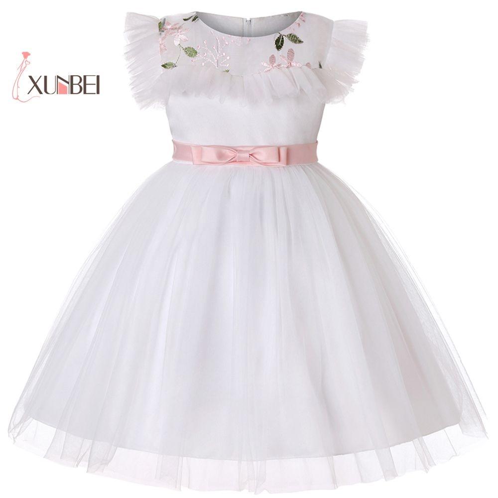 Cute Princess Embroidery White   Flower     Girl     Dresses   2019 First Communion   Dresses     Girls   Party   Dress   Ball Gown Vestido De Flores