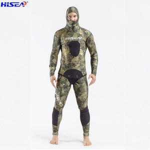 Image 4 - Hisea 3.5 mm Men Camo Diving suit YAMAMOTO SCR Neoprene Spearfishing Suit warm With hat Hooded freediving Smooth shin Wetsuit