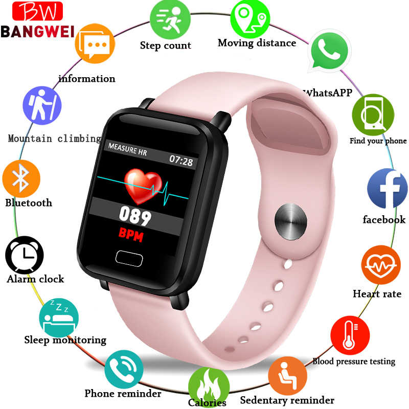 BANGWEI 2019 New Pink Smart Watch Women Men Fitness Watch Heart Rate Blood Pressure monitor Smart Sport Watches for iOS Android