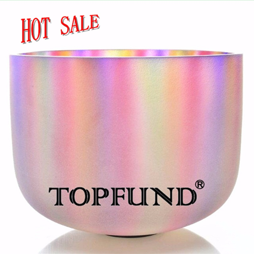 TOPFUND Gradient Color Frosted Chakra Quartz Crystal Singing Bowl 10 -Different Note With Free Mallet and O-Ring topfund red color perfect pitch c adrenals chakra frosted quartz crystal singing bowl 10 with free mallet and o ring