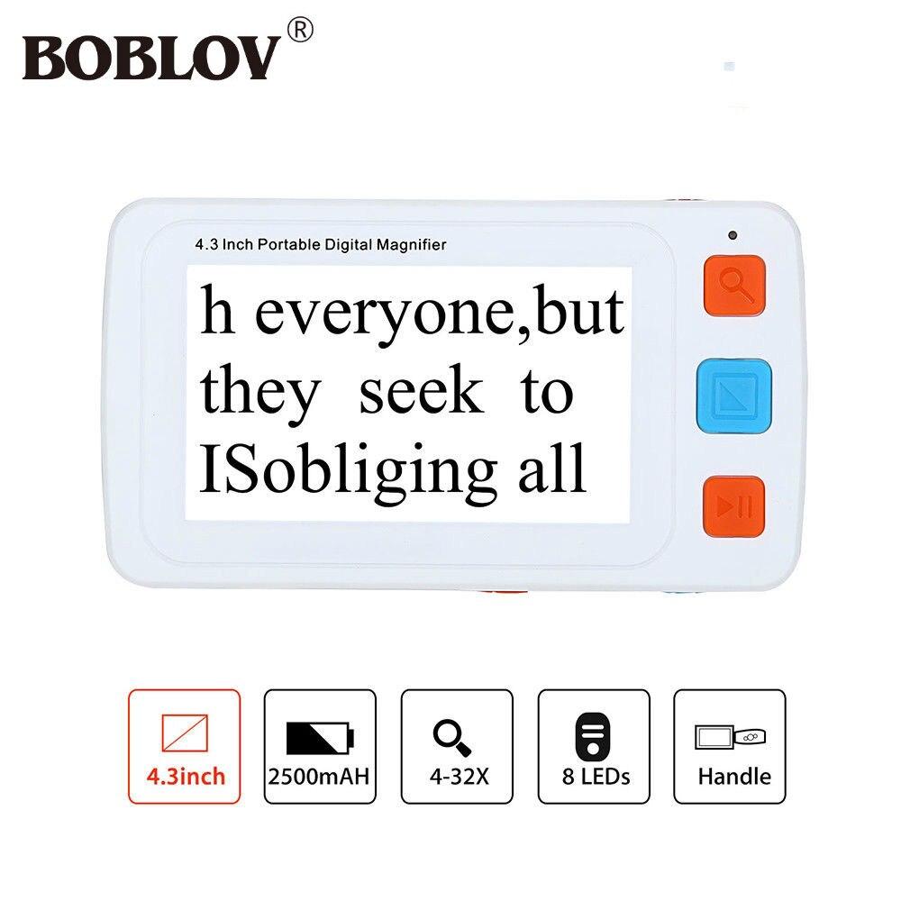 BOBLOV YS010 4.3 pouces LCD Portable 4-32X Vidéo Numérique Loupe Aide à La Lecture Électronique 17 Couleur Modes VGA Pour Personnes Âgées