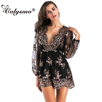 Colysmo V neck Long Sleeve One Piece Pants Embroidery Sequins Mesh Perspective Playsuits Women's Loose Waist Loose Jumpsuit New