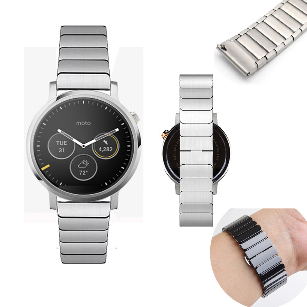 Premium 316L Stainless Steel Watchband For MOTO 360 1st 2nd generation Men Smartwatch 22mm 24mm Butterfly