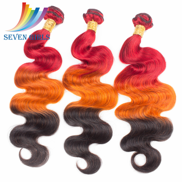 Ombre Brazilian Hair Body Wave hair Weaves 3Pcs Three Tone Ombre Hair Extensions Brazilian Virigin Hair Red Orange 1B Wholesale