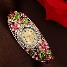 Diamond Girls Quartz Wristwatch Luxurious Gown Girls Bracelets Quartz Clock Alloy Mesh Strap Imported-China Watch For Girls