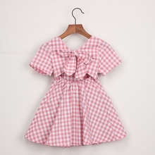 Summer Cotton Casual Fashion Girl Cute Bow-knot Short Sleeve Plaid Backless Princess Dress Toddler Girl Clothes 2-6Y недорого