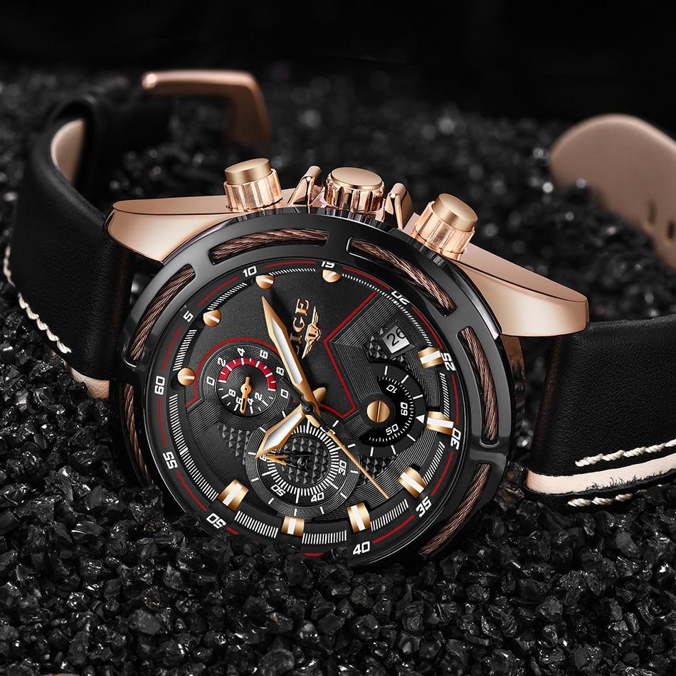 HTB18z7SaW5s3KVjSZFNq6AD3FXaE LIGE Watch Men Fashion Sport Quartz Clock Leather Mens Watches Top Brand Luxury Blue Waterproof Business Watch Relogio Masculino
