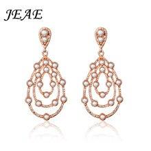 74fcfb5db4cc Jeae moda lágrima simulado de perlas largo Pendientes de gota para las  mujeres oro elegante nupcial boda compromiso joyería