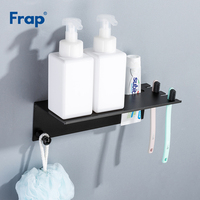 Frap Wall mounted Multifunction Bathroom Shelves Toothbrush Toothpaste Holder Storage Rack Black Shampoo Shelf With Hooks Y18077