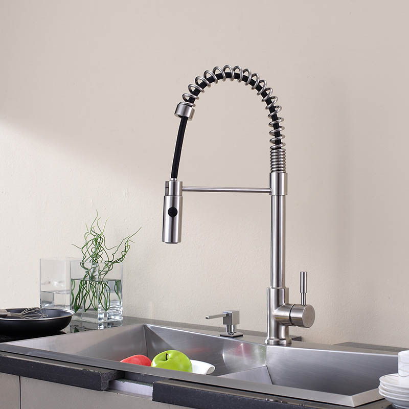 Kitchen Sink Faucet All Stailnless Steel Material Pull Out Down Sprayer Single Handle Deck Mount Nickel