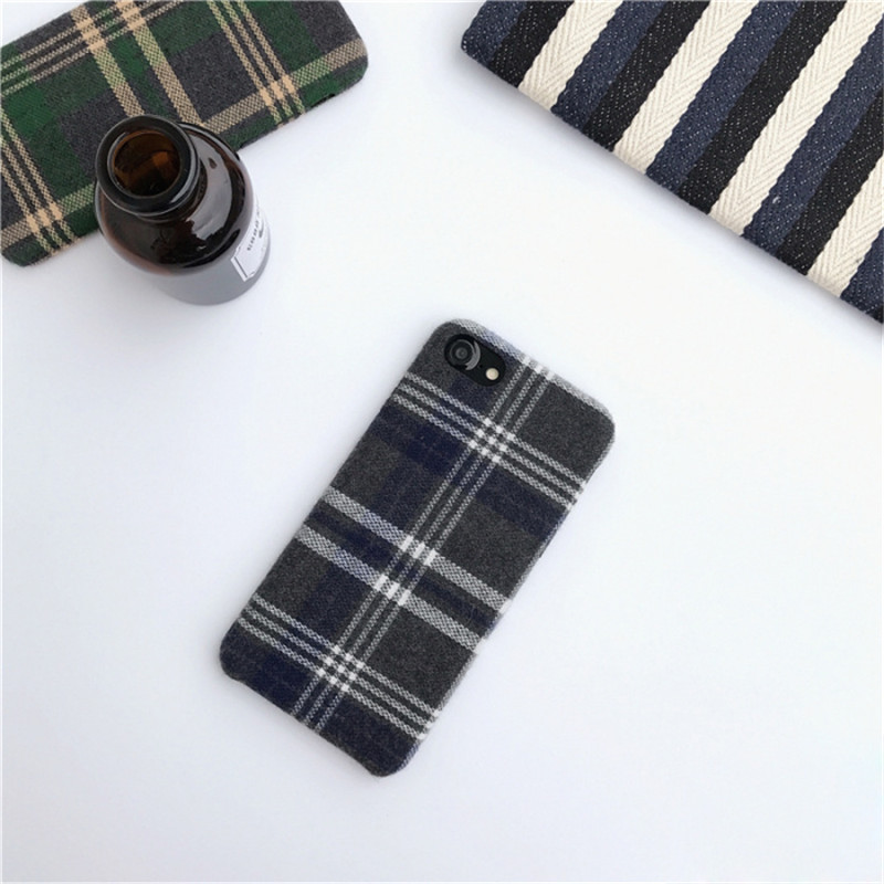 LUDI Britain style Grid Cloth Fabrics Grid Cloth Back Cover for iphone X 8 7 Plus Soft Phone Case for iphone 6 6S 66sPlus      2