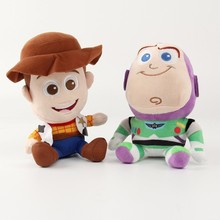Hot Buzz  Woody Toy Story Plush Dolls Woody & Buzz Lightyear Plush Dolls Soft Stuffed Toys For Children Birthday Christmas Gifts стоимость
