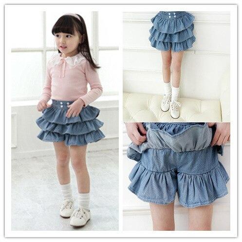 Wholesale 5pcs Lot 2014 New Fashion Mini Blue Denim Skirt For Girls