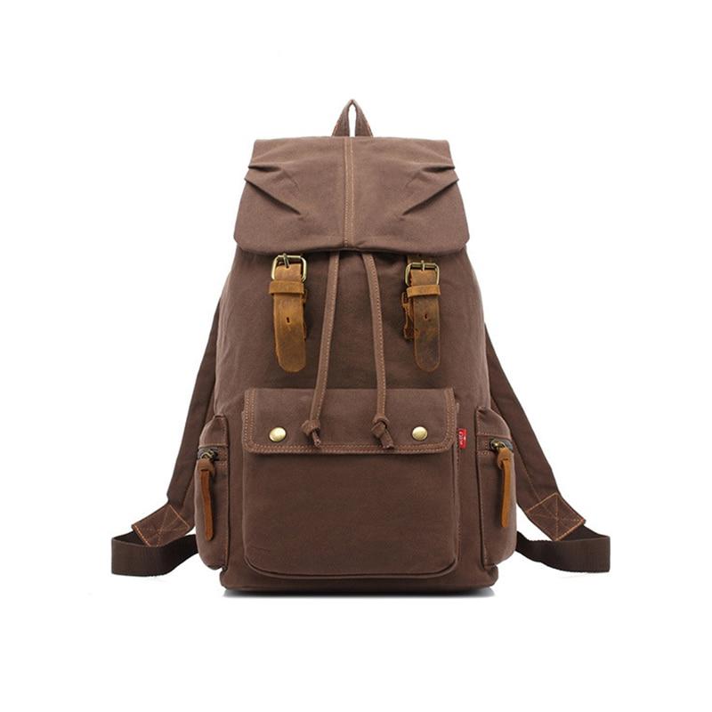 TOP POWER Men Backapck Fashion Zipper Solid Canvas Backpack School Bag Women's Travel Bags Large Capacity Travel Backpack Bag