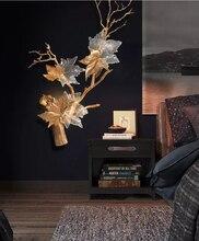 Phube освещение художественного Медь ветви настенный светильник Прозрачный виноградный лист настенный светильник бра прикроватные освещение