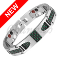 Channah 2017 Titanium 4in1 Magnetic Silver Bracelet Black Green Carbon Fiber Stylish Men Negative Ion Free Shipping Bangle Charm