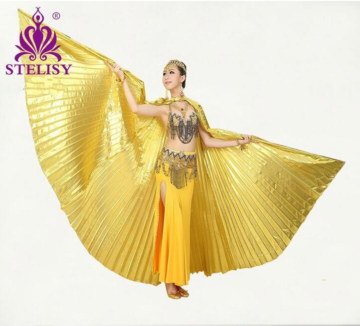2015 New Style Professional White Belly Dancing Costume Wing Belly Dance Transparent Fabric Isis Wings Golden