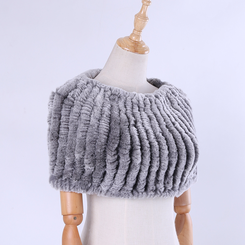 Real Rex Rabbit Fur Knitted Elastic Women Winter Pullover Shoulder Cape Lady Amice Fashion Cappa Real Fur Tippet Thurgs Elastic