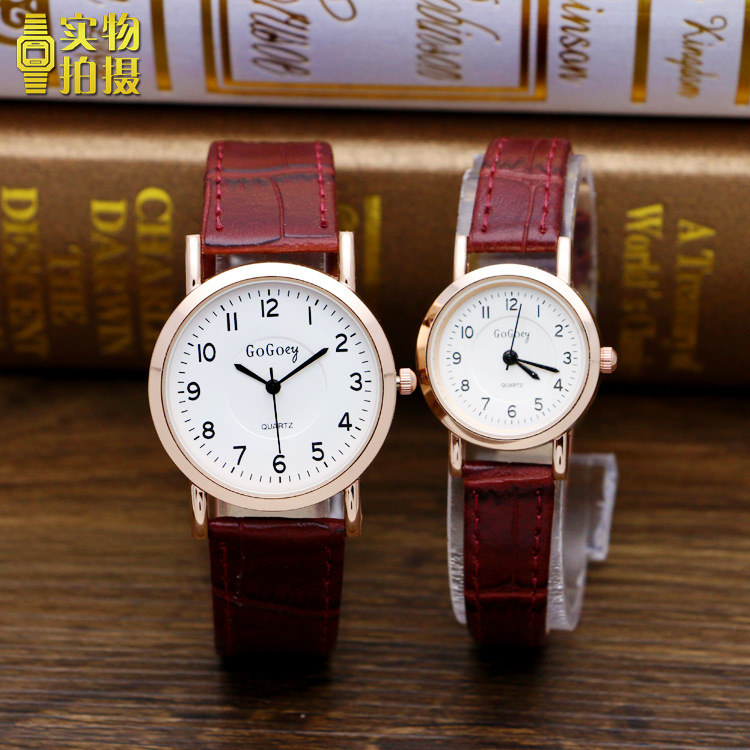 Luxury Gogoey Brand Leather Pair Watches Men Women Lovers Couple Fashion Casual Dress Quartz Wristwatch G844