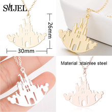 SMJEL Cartoon Mickey Castle Necklaces for Kids Jewelry Women Animal Mouse Statement Necklace Collier Femme Birthday Gift(China)