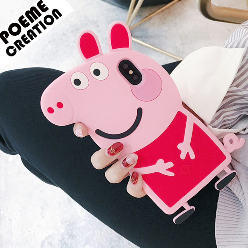 For Samsung S7 S7 Edge 3D Cartoon Pink Pig Silicone Phone Cases for Samsung S8 S8 Plus Soft Silicon Phone Case S9 S9 Plus