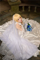 Anime cosplayFate Matrimonio Boda del Lirio del Sable Fate Zero stay night Cosplay Anime Vestido
