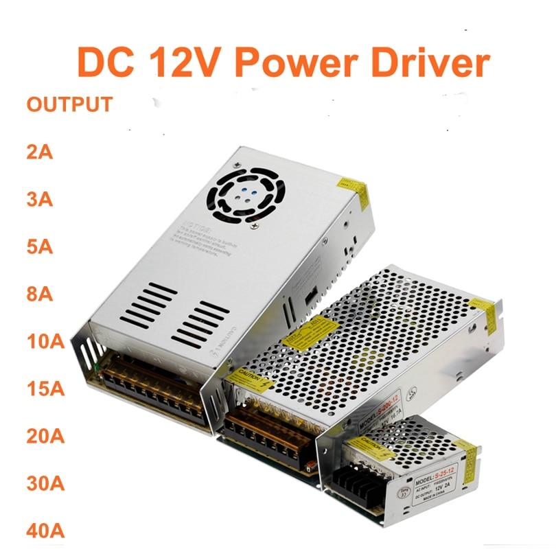 DC 12V power Driver 2A/3A/5A/8A/10A/15A/20A/30A/40A current power Adapter Supply transformer 220v 110v to 12V for LED strip lamp 201w led switching power supply 85 265ac input 40a 16 5a 8 3a 4 2a for led strip light power suply 5v 12v output