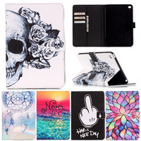For Ipad6 Lovely Cartoon Design Flower Skull Pattern PU Leather Stand Smart Case Cover For IPad